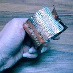 Sterling silver Rose gold striped diamond cut cuff